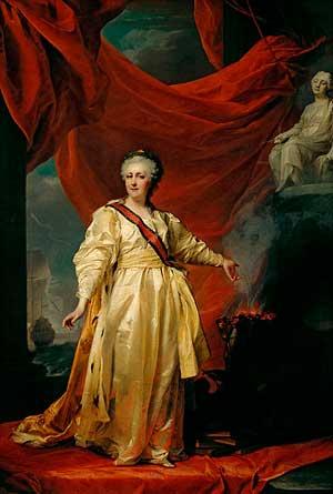 Екатерина II — законодательница в храме Правосудия (Левицкий Д. Г., 1783 год, Третьяковская галерея, Москва)