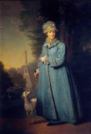 Екатерина II на прогулке в Царскосельском парке. Картина художника Владимира Боровиковского, 1794 год